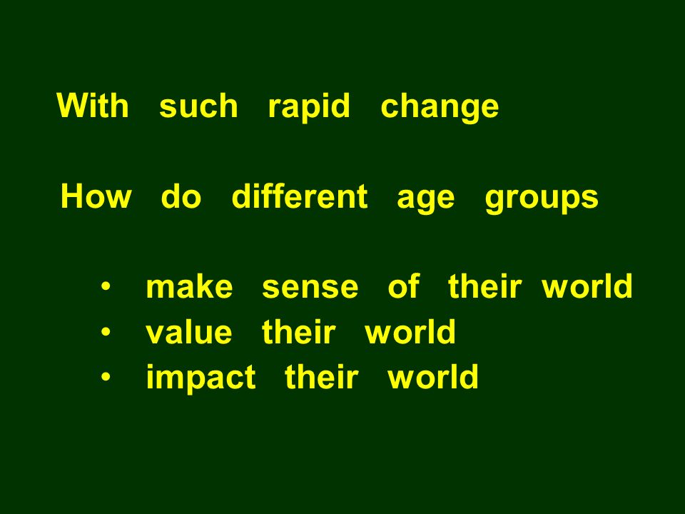 How do different age groups make sense of their world