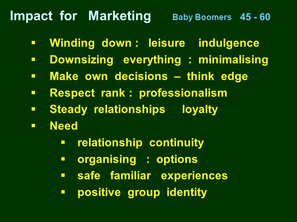 Impact for Marketing Baby Boomers