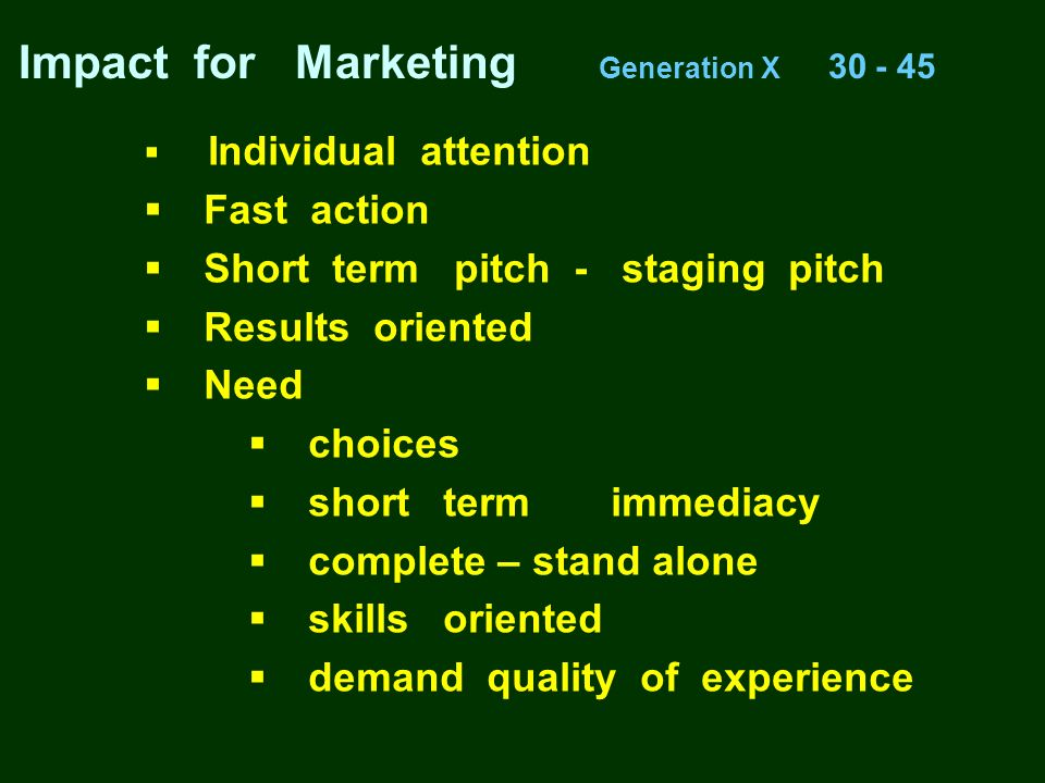 Impact for Marketing Generation X