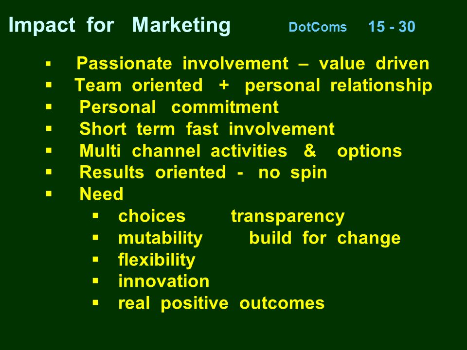 Impact for Marketing DotComs