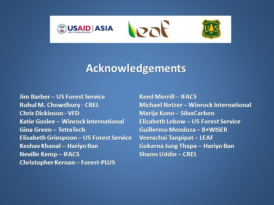 Acknowledgements Jim Barber – US Forest Service