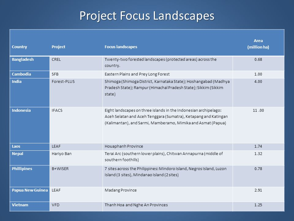Project Focus Landscapes