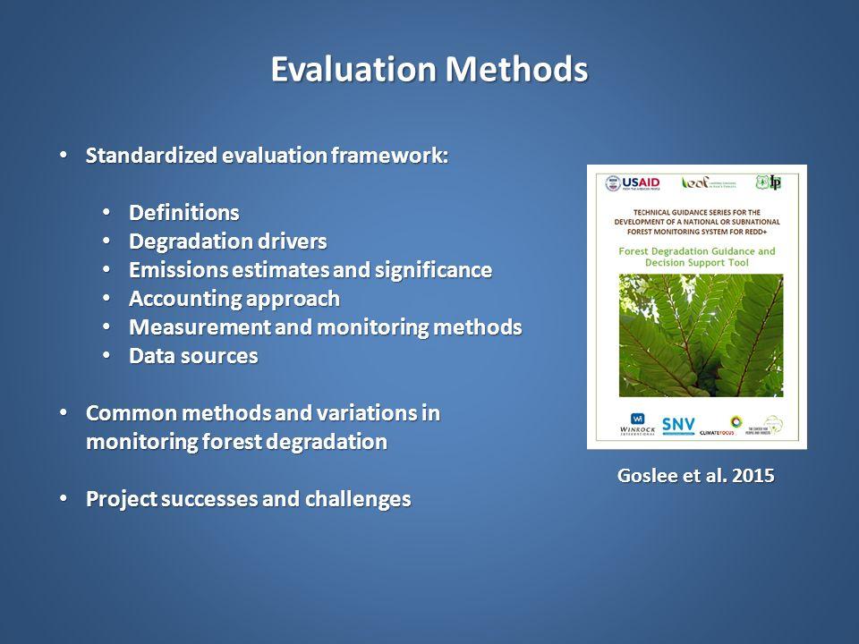 Evaluation Methods Standardized evaluation framework: Definitions