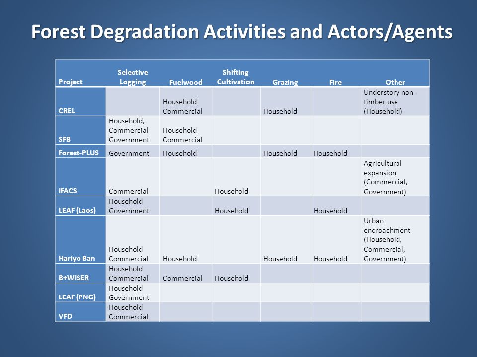 Forest Degradation Activities and Actors/Agents