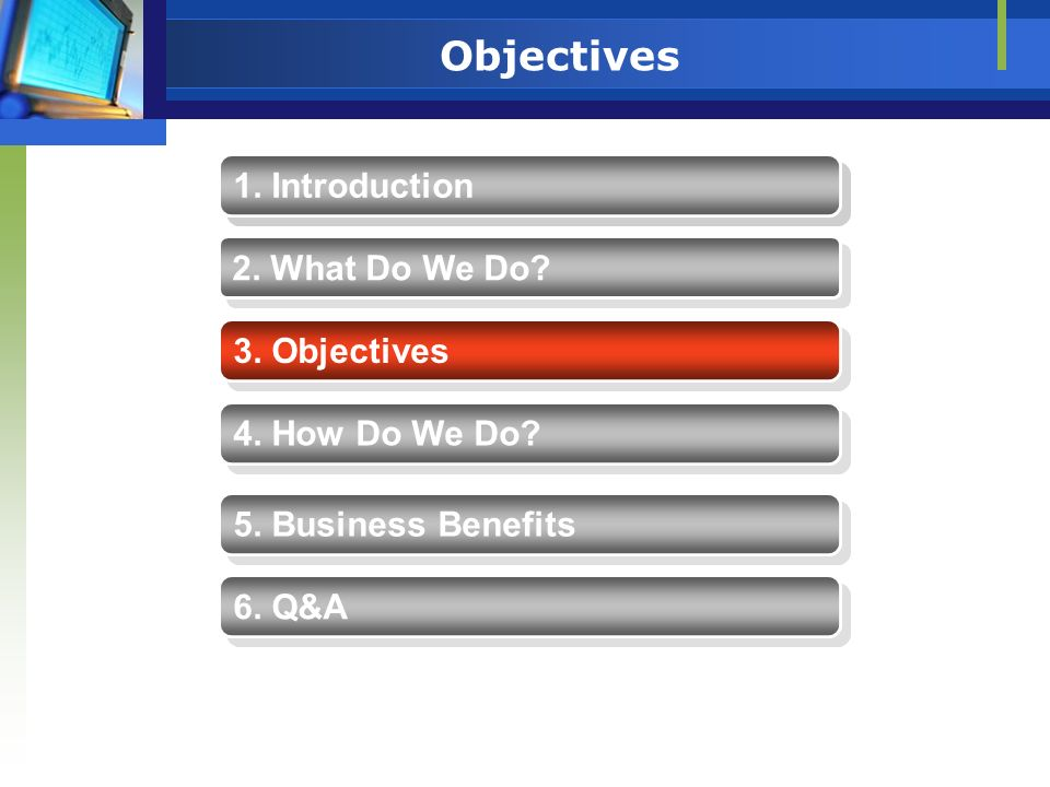 Objectives 1. Introduction 1. Introduction 2. What Do We Do