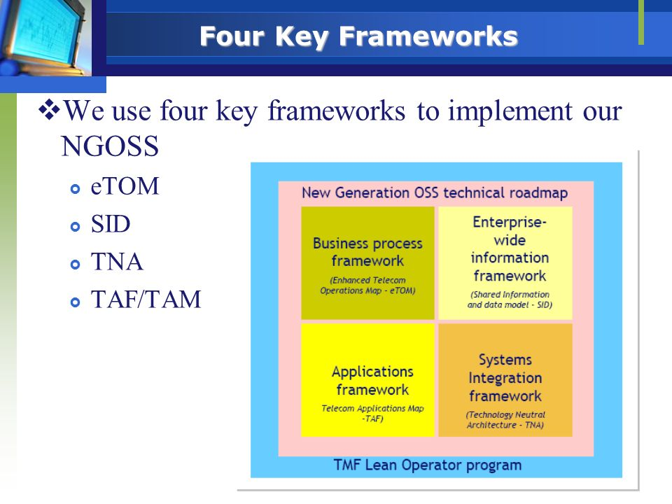 We use four key frameworks to implement our NGOSS