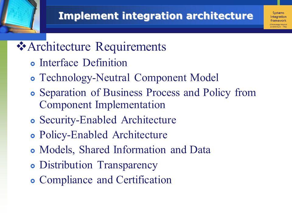 Implement integration architecture
