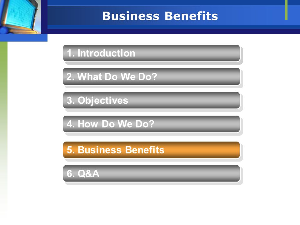 Business Benefits 1. Introduction 1. Introduction 2. What Do We Do