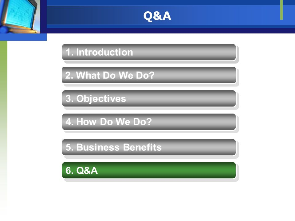 Q&A 1. Introduction 1. Introduction 2. What Do We Do 3. Objectives