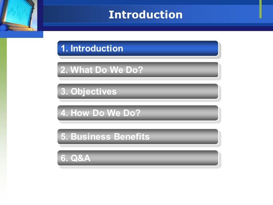 Introduction 1. Introduction 1. Introduction 2. What Do We Do