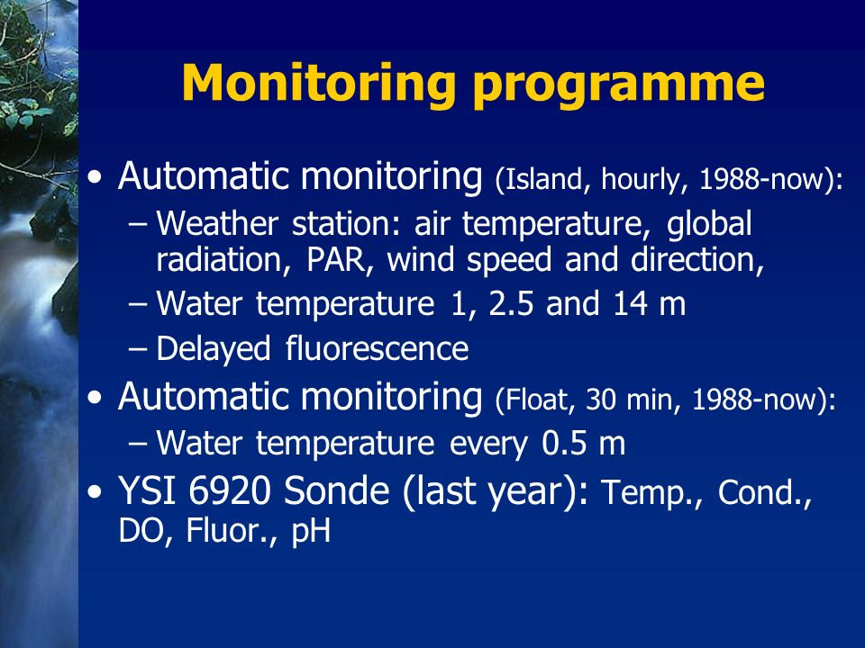 Monitoring programme Automatic monitoring (Island, hourly, 1988-now):