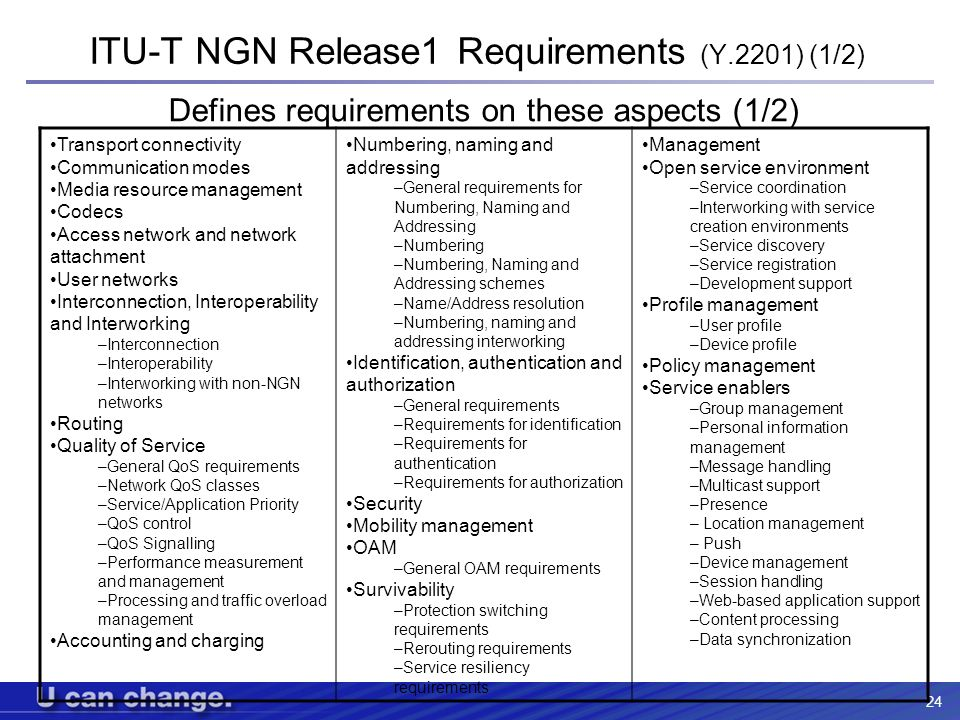 ITU-T NGN Release1 Requirements (Y.2201) (1/2)