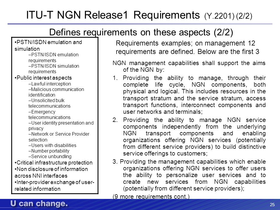ITU-T NGN Release1 Requirements (Y.2201) (2/2)