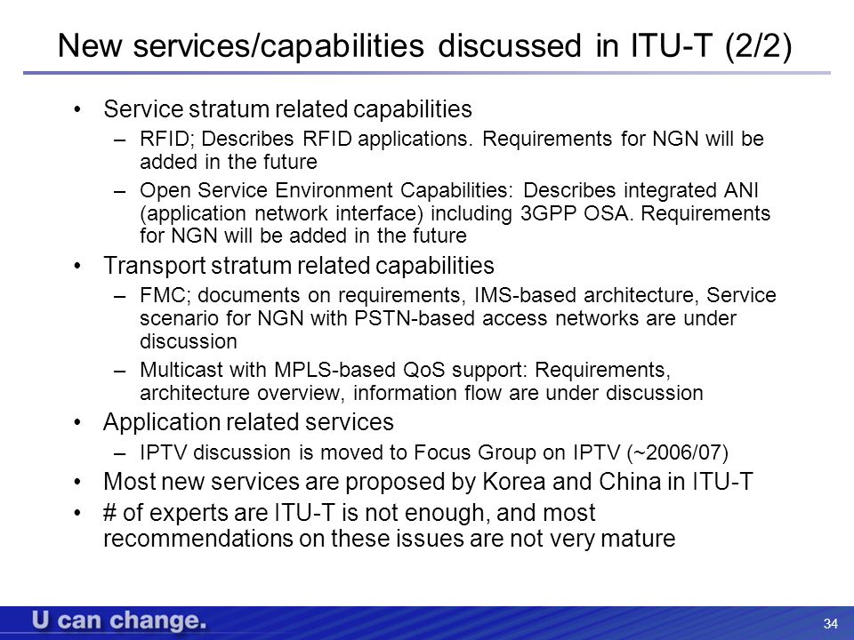 New services/capabilities discussed in ITU-T (2/2)
