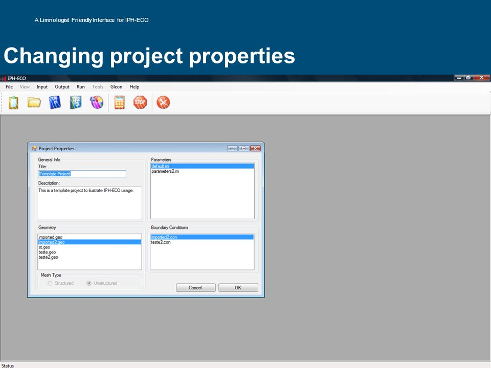 Changing project properties