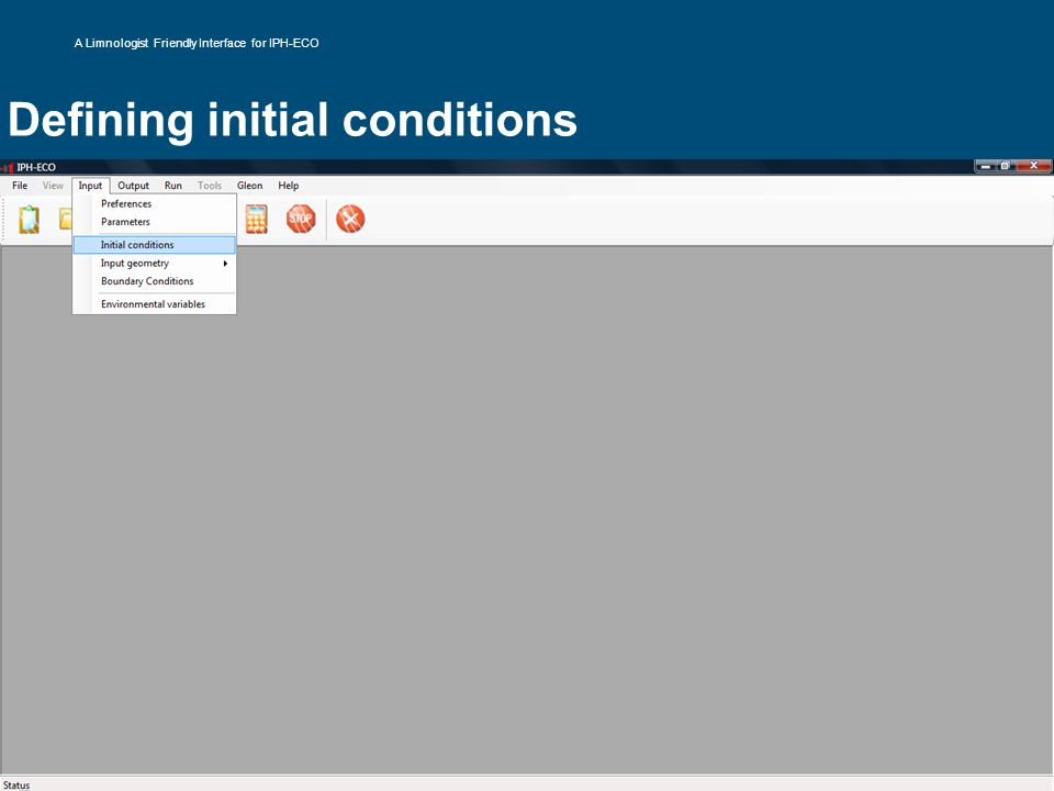 Defining initial conditions