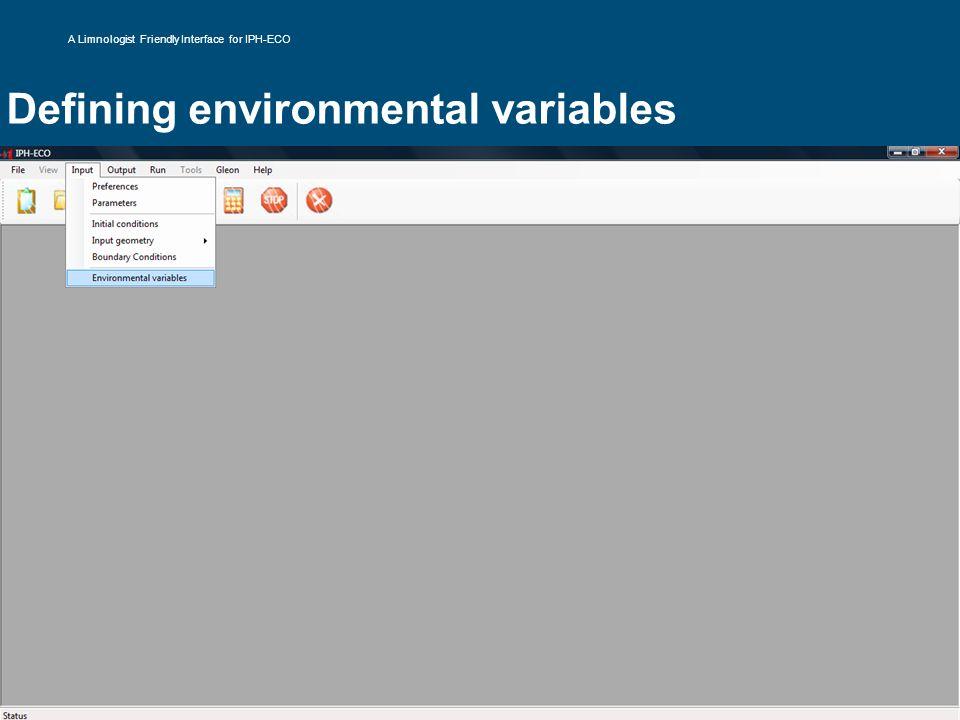Defining environmental variables