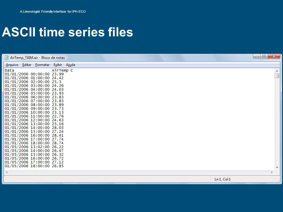 ASCII time series files