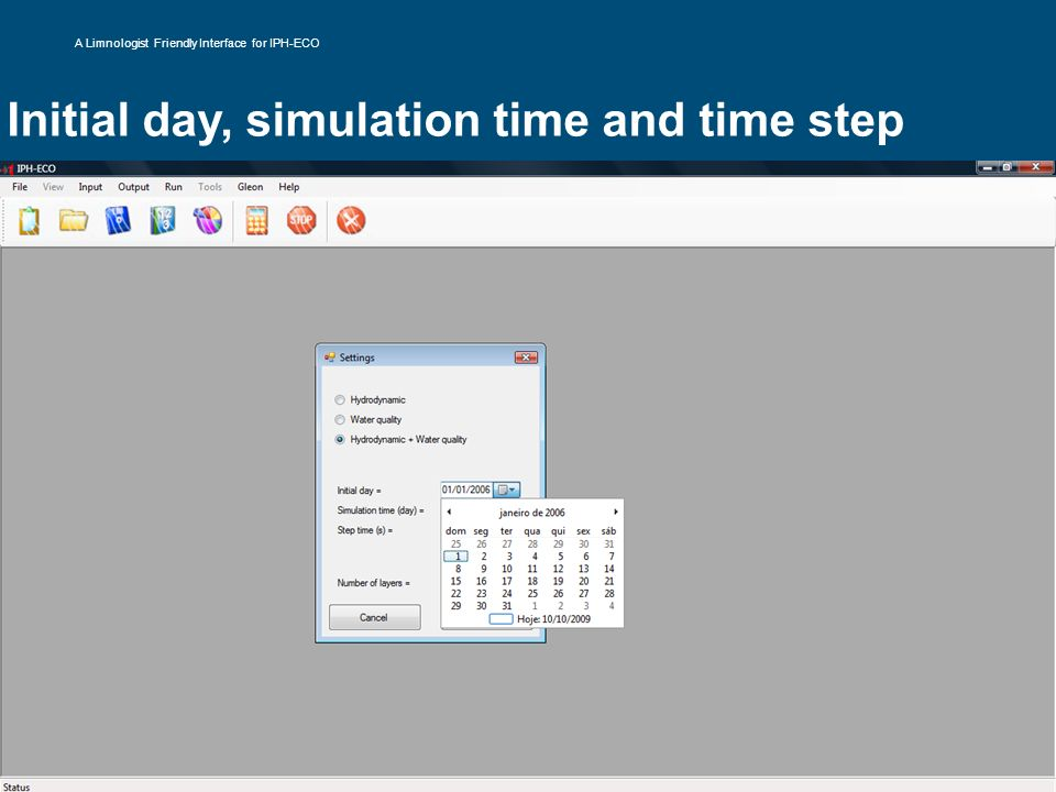 Initial day, simulation time and time step