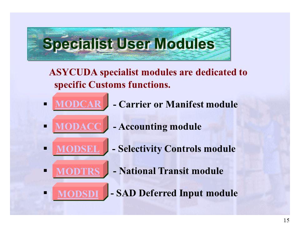 Specialist User Modules