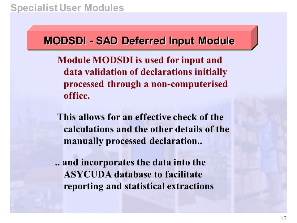MODSDI - SAD Deferred Input Module