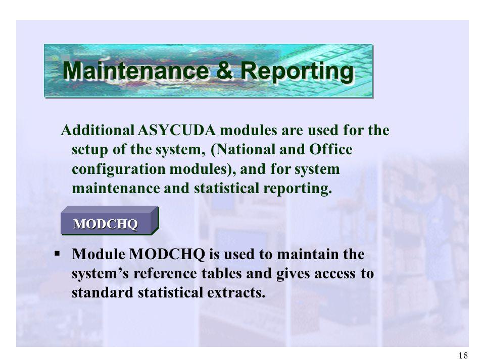 Maintenance & Reporting