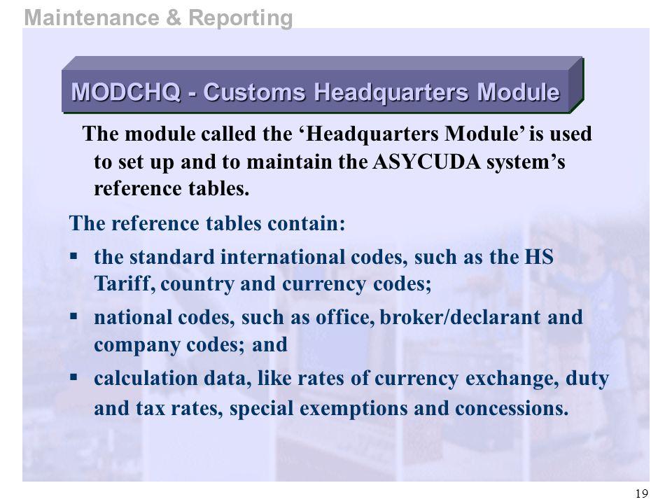 MODCHQ - Customs Headquarters Module