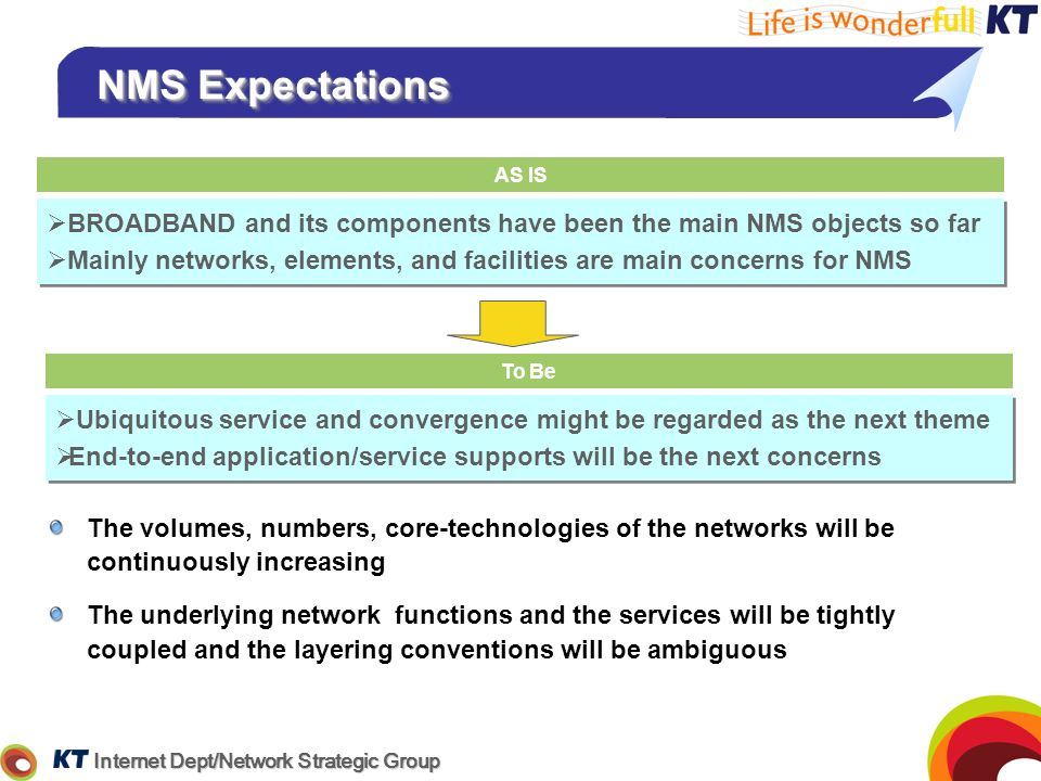 NMS ExpectationsAS IS. BROADBAND and its components have been the main NMS objects so far.