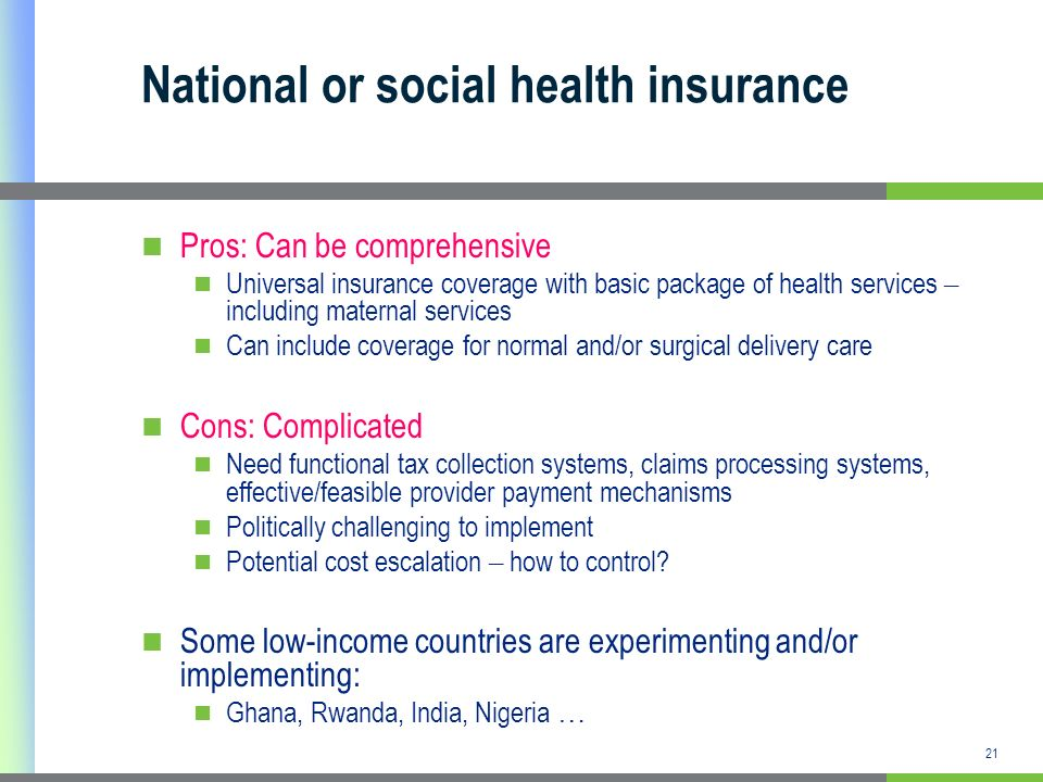 National or social health insurance