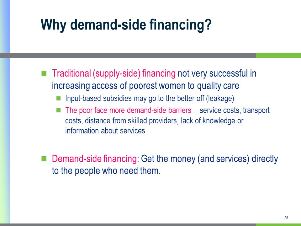 Why demand-side financing