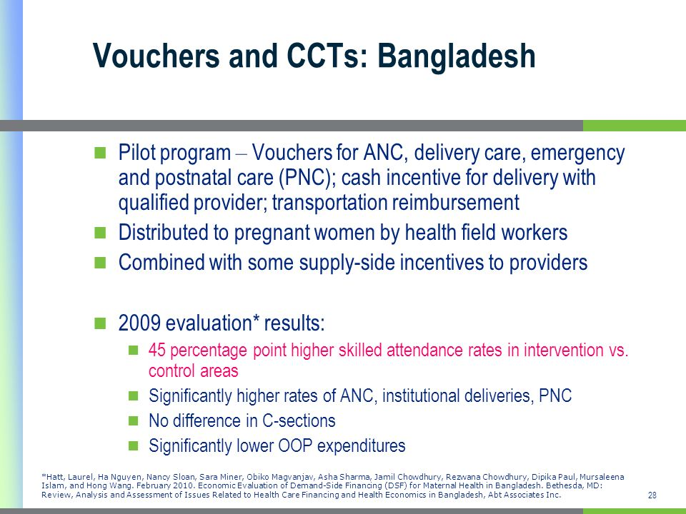 Vouchers and CCTs: Bangladesh
