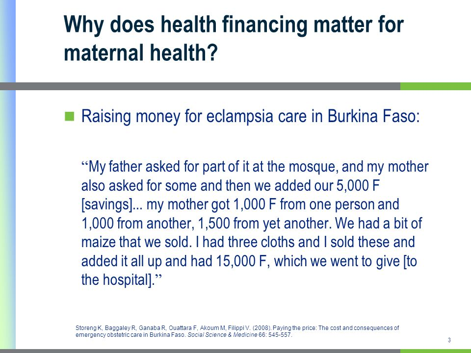 Why does health financing matter for maternal health