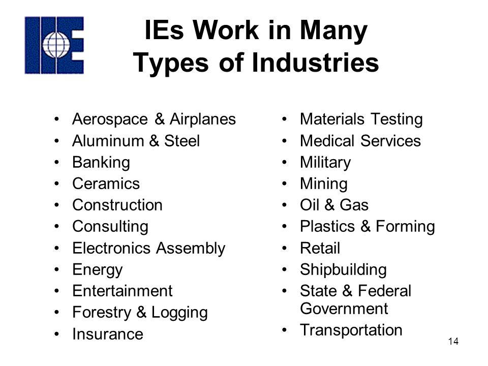Industrial engineering roles in industry ppt video for Construction types insurance