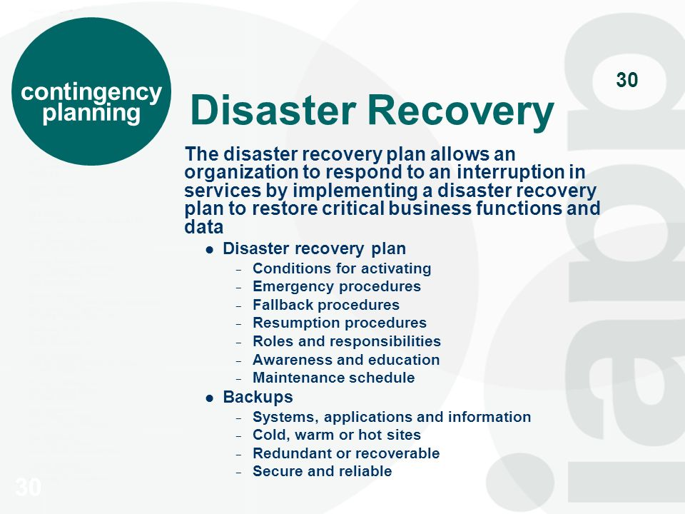 the process of implementing a disaster recovery plan in a business organization Implementing and auditing a successful business continuity plan agenda implement recovery organization structure develop continuity it disaster recovery business continuity back to normal starts within minutes after the.