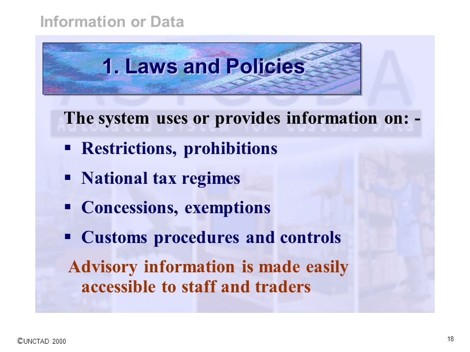 1. Laws and Policies The system uses or provides information on: -