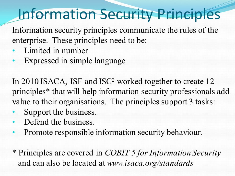 security principles Generally accepted system security principles fall 1990 29 benefits the gassp will promote good practice the gassp will provide the authorita.