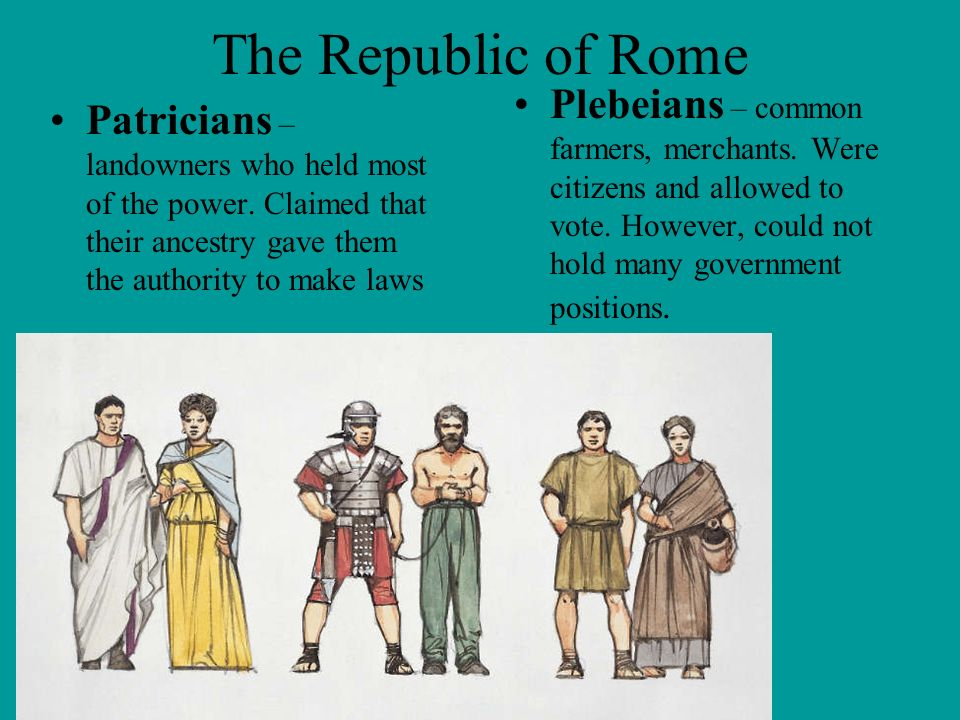 The Republic of Rome Plebeians – common farmers, merchants. Were citizens and allowed to vote. However, could not hold many government positions.