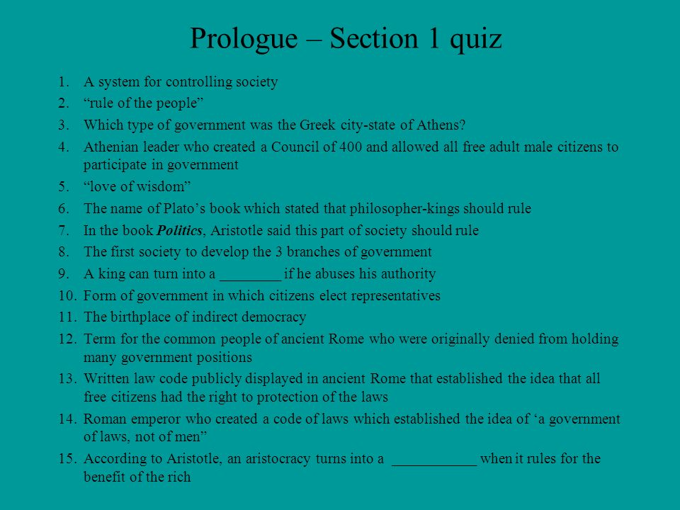 Prologue – Section 1 quiz