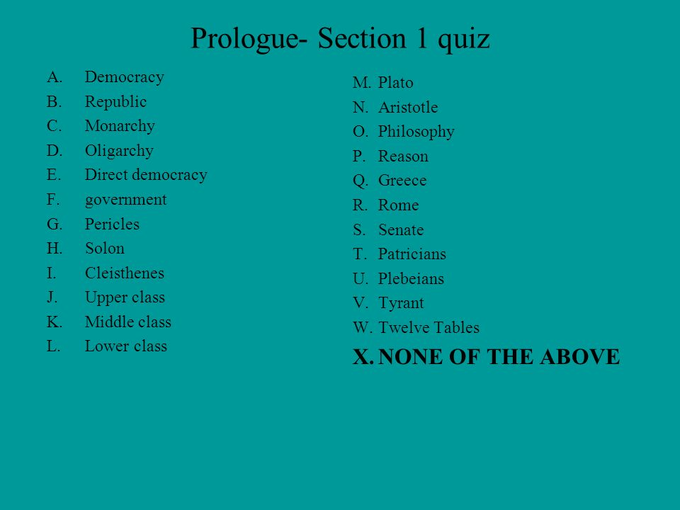 Prologue- Section 1 quiz