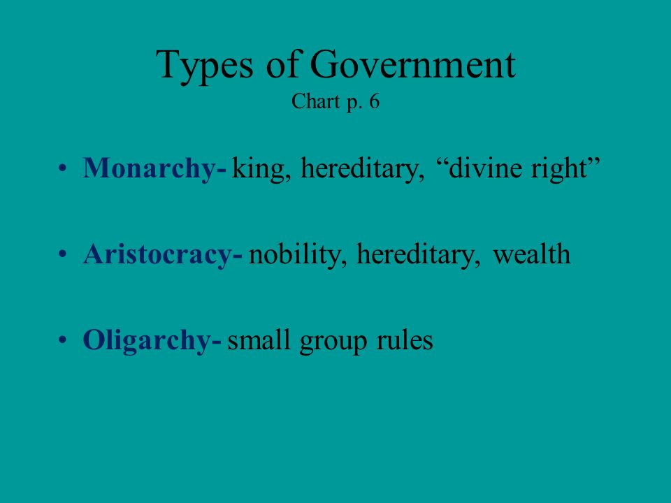 Types of Government Chart p. 6