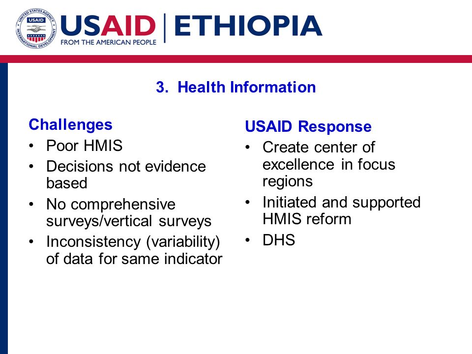 3. Health Information Challenges. Poor HMIS. Decisions not evidence based. No comprehensive surveys/vertical surveys.