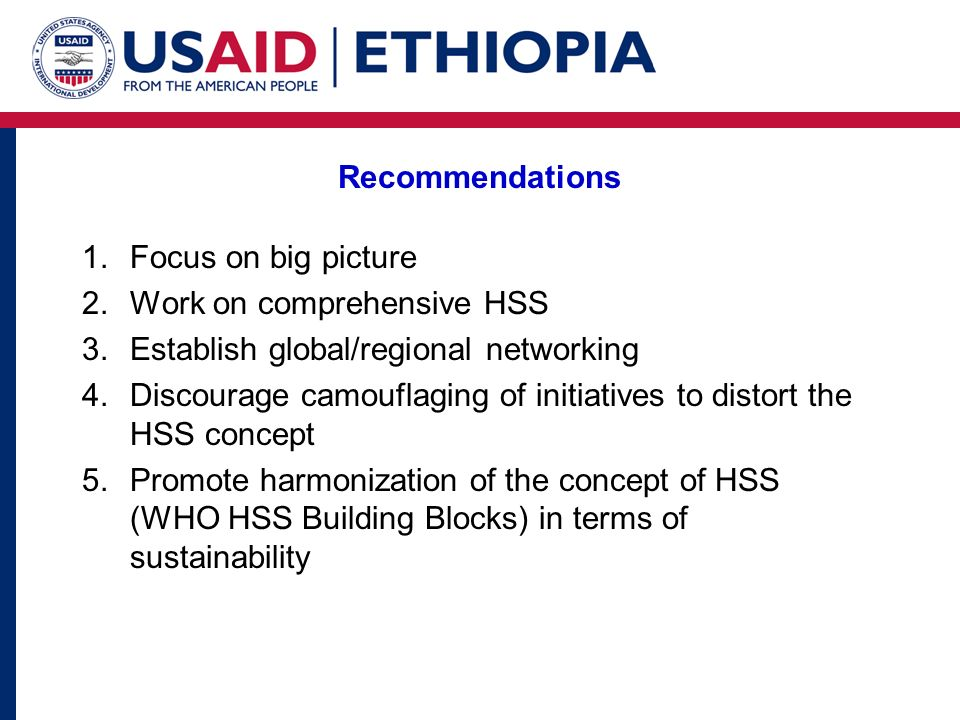 Recommendations Focus on big picture. Work on comprehensive HSS. Establish global/regional networking.