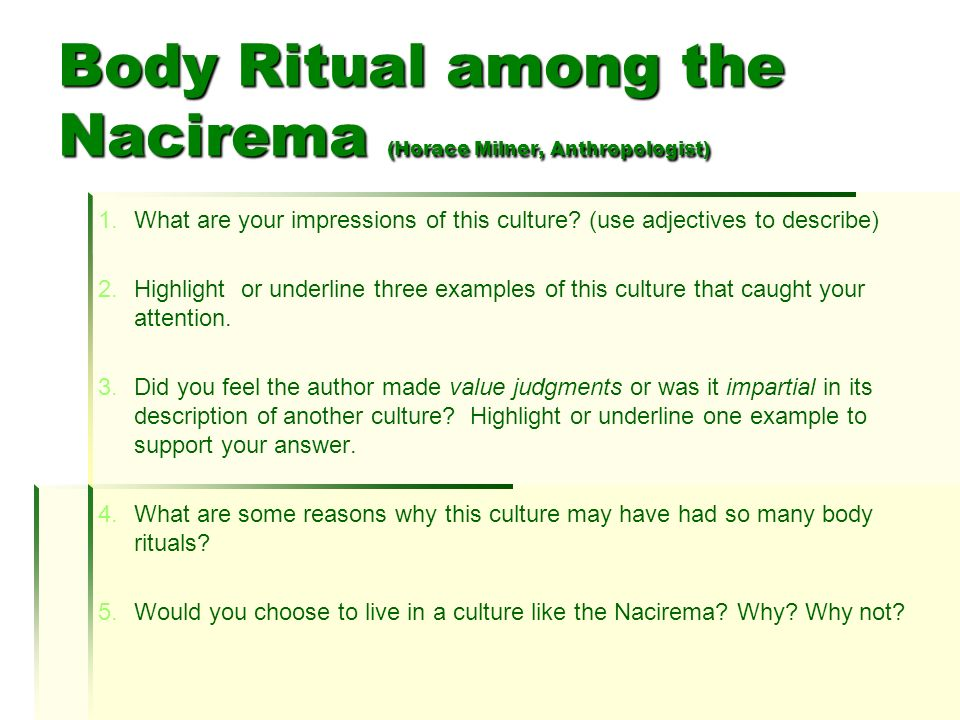 rituals of the nacirema Archaeology coursework help body ritual among the nacirema essay essay on merit pay for teachers thesis statement essay format.