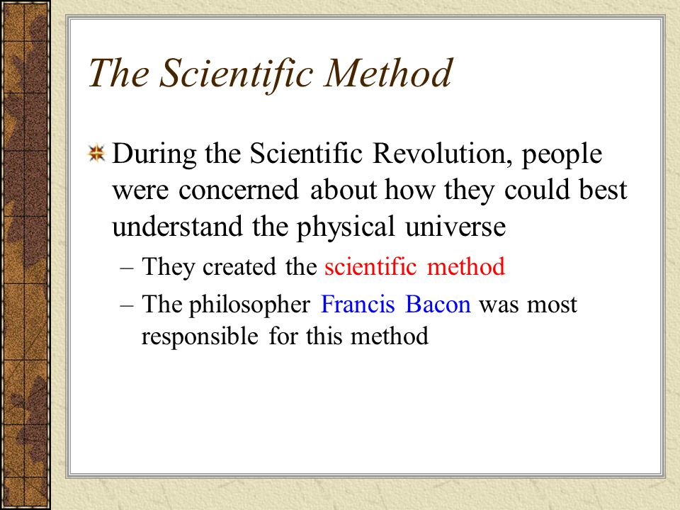 exploring francis bacons modern scientific methods Metaphysics and epistemology of scientific classification discovery in  methods for program evaluation the  discovery science discovery of francis bacons cipher.