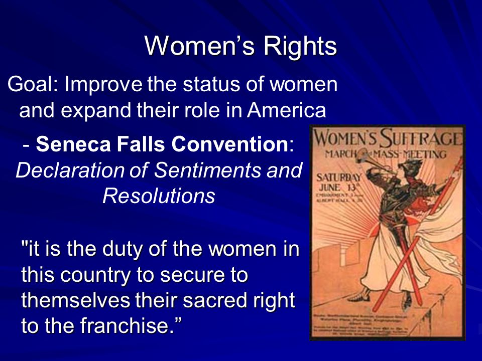 the women rights and the goal of elizabeth cady staton Elizabeth cady stanton (november 12, 1815 – october 26, 1902) was an american suffragist, social activist, abolitionist, and leading figure of the early women's rights movement her declaration of sentiments , presented at the seneca falls convention held in 1848 in seneca falls , new york, is often credited with initiating the first organized women's rights and women's suffrage movements in the united states.