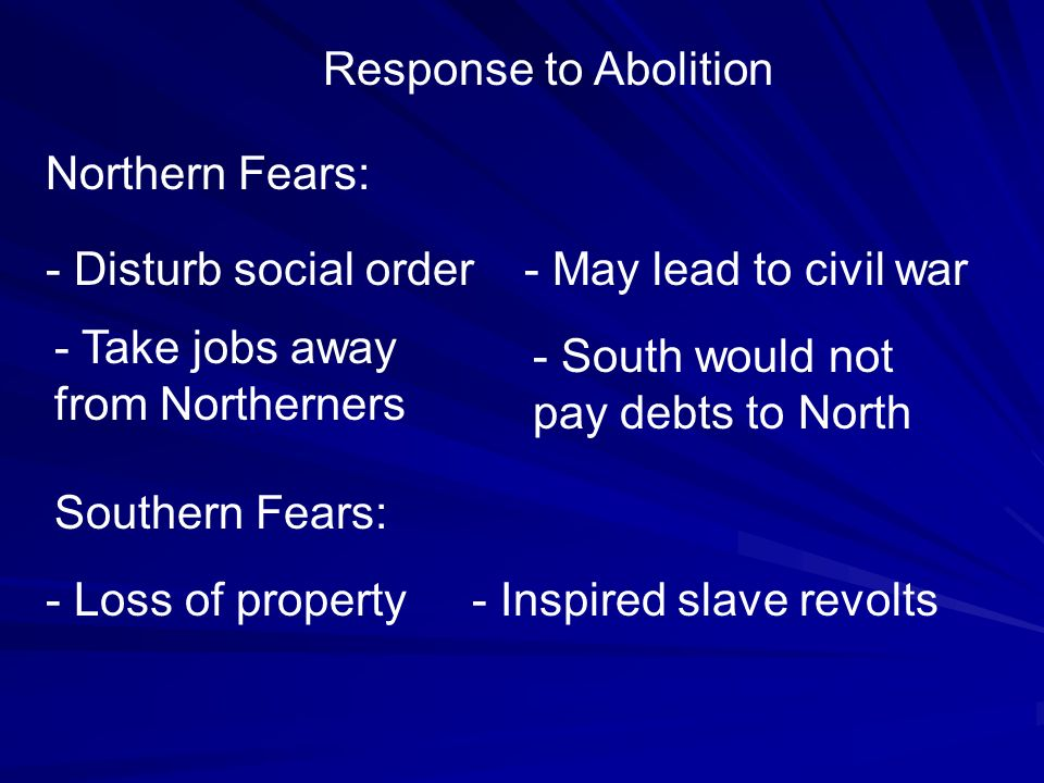 Response to Abolition Northern Fears: - Disturb social order. - May lead to civil war. - Take jobs away from Northerners.