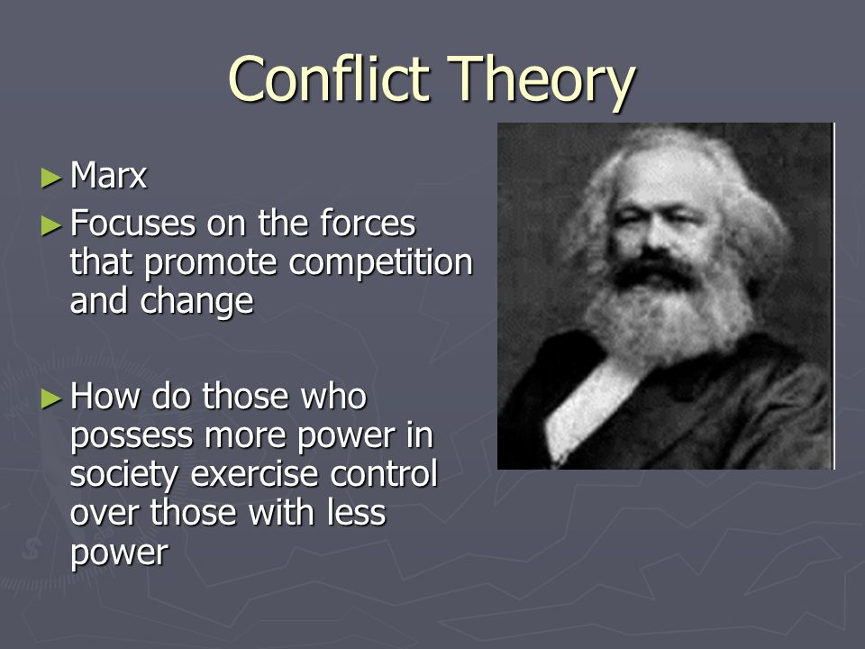 Conflict Theory Marx. Focuses on the forces that promote competition and change.