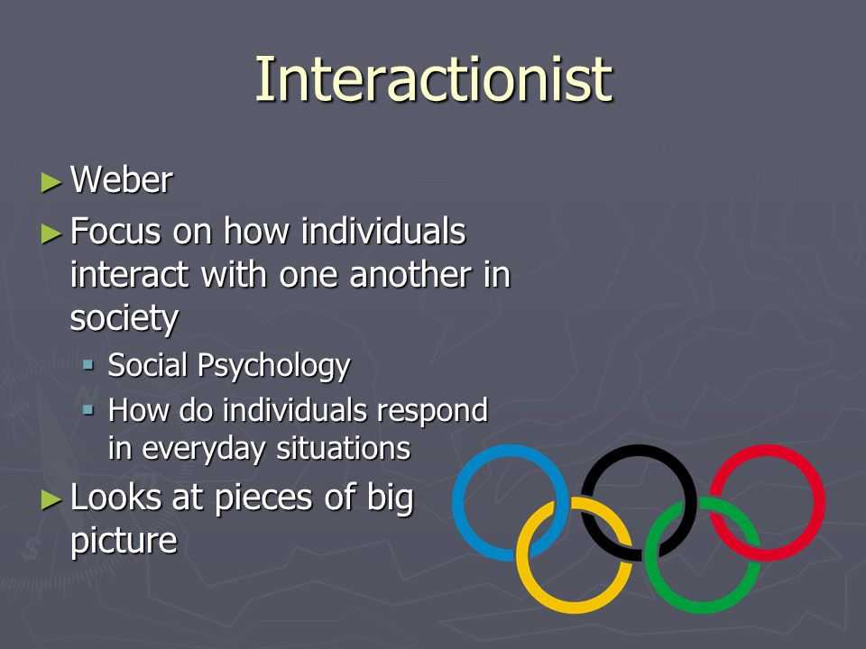 Interactionist Weber. Focus on how individuals interact with one another in society. Social Psychology.
