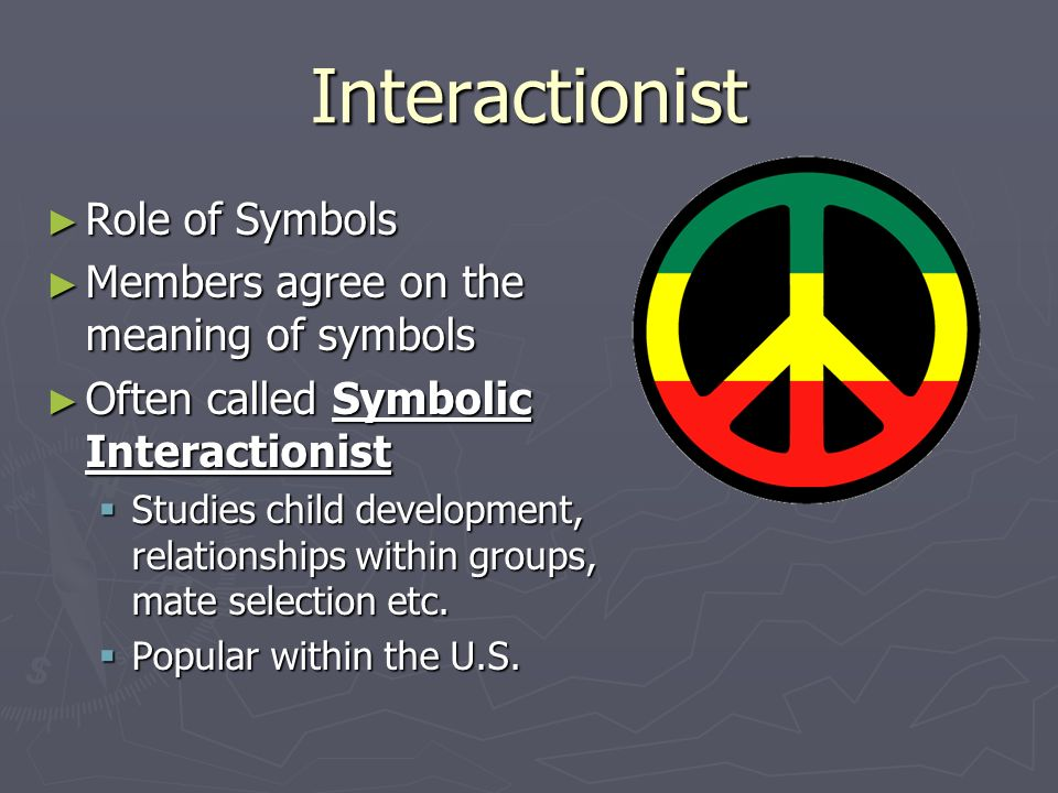 Interactionist Role of Symbols Members agree on the meaning of symbols
