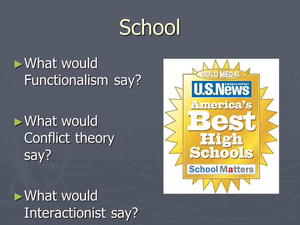 School What would Functionalism say What would Conflict theory say
